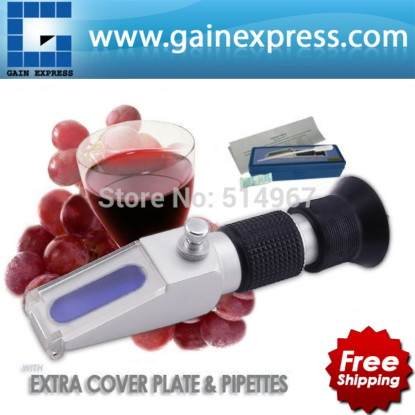 NEW DESIGN Portable Hand-held Grape Wine Alcohol Refractometer Brix 0-40% + Built-in ATC Compensation Range new handheld brix refractometer with adjustable focus built in calibration knob 0 32% range atc fruit juice wine cnc