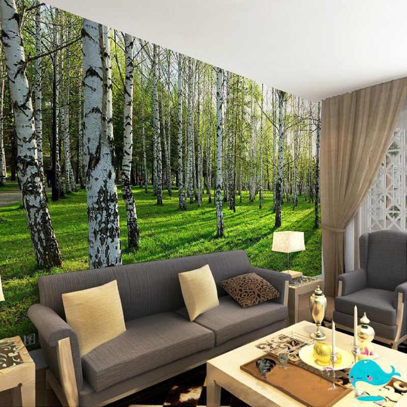 مخصص 3D ثلاثي الأبعاد جدارية خلفيات المعيشة غرفة نوم أريكة التلفزيون خلفية خلفيات الأخضر البتولا الغابات صور خلفيات