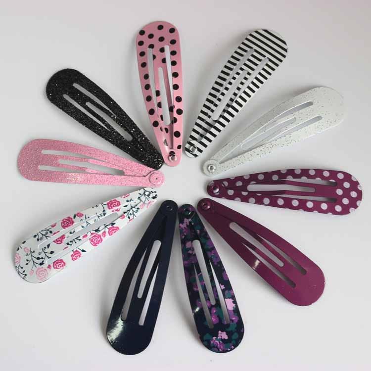 HOT 12pcs/lot children glitter printing floral bobby pin   headwear   girls dot & stripe hair snap clip hairpins hair accessories