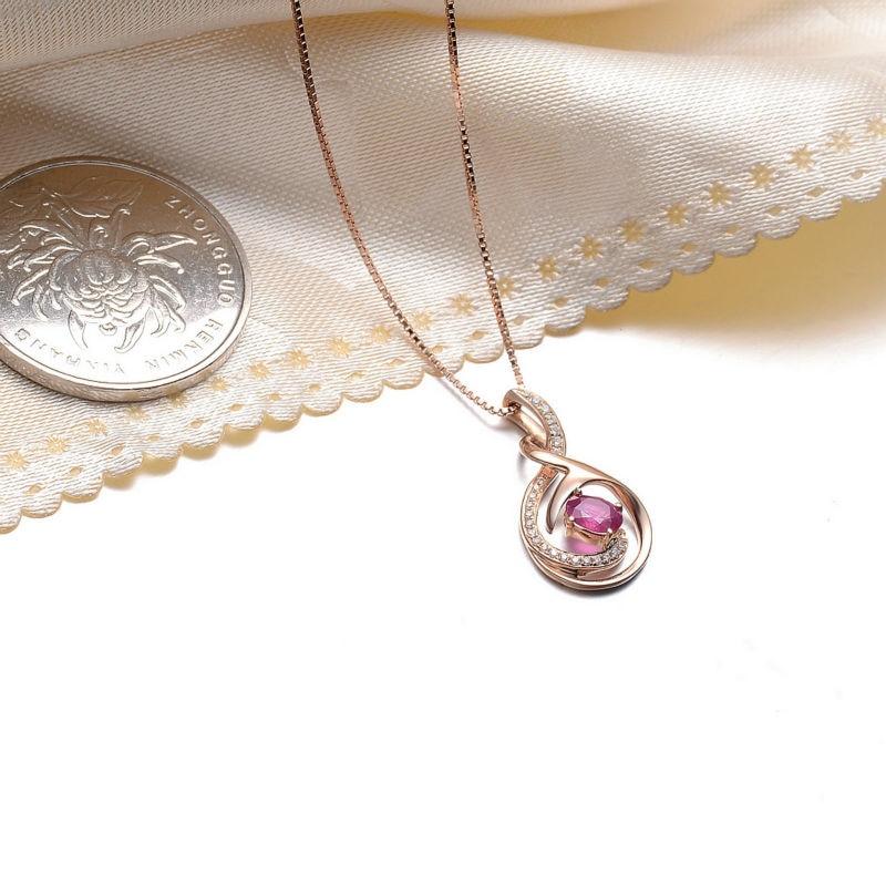 Новинка GVBORI 0.33ct с натуральным Рубином, ожерелье из страз с подвеской 925 Стерлинговое Серебро цепочка, ювелирное изделие из драгоценных камней на День святого Валентина