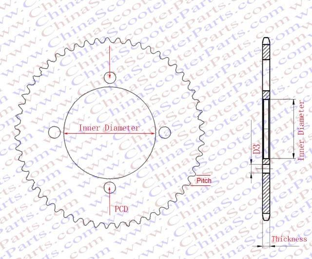55 Tooth T8f 8mm 54mm Rear Sprocket Mini Moto Razor Gas E Electric
