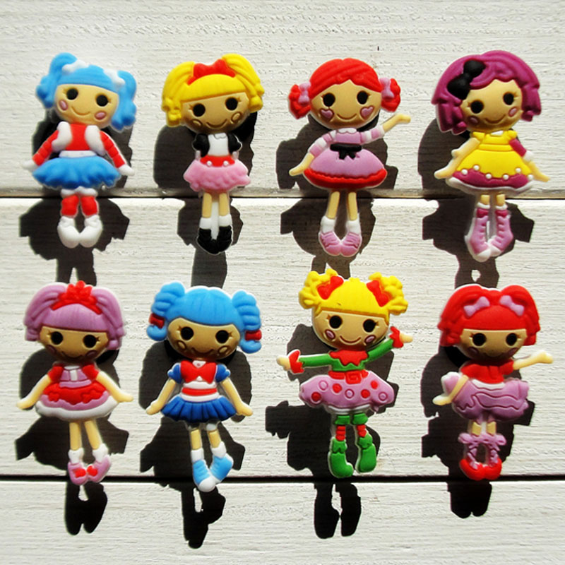 Wholesale,8Pcs  Lalaloopsy  PVC shoe accessories/shoe charms For Silicone Wristbands&shoes with holes,shoe buckle,fit for kids free shipping new 100pcs avengers pvc shoe charms shoe accessories shoe buckle for wristbands bands