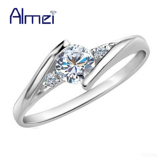 Almei Wedding Rings For Women Girls Silver Color Fashion Commitment