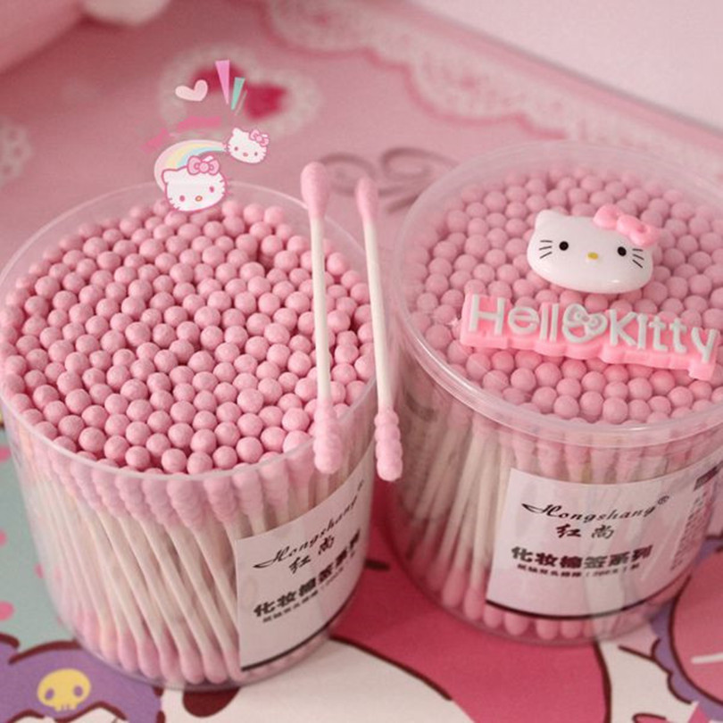 200pcs/pack Disposable Cotton hello Kitty Swab Double Head Ended Clean Cotton Buds Medical Health Make Up Beauty Ear Clean Tools