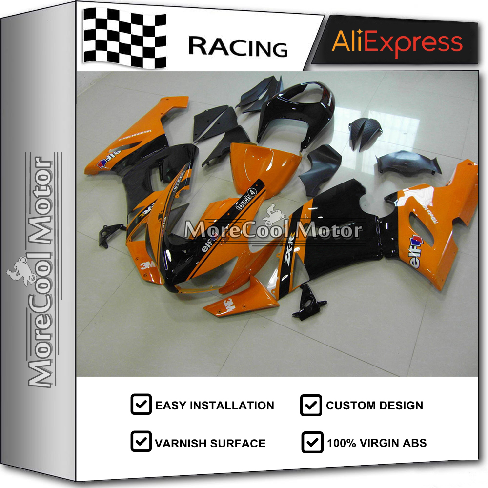 Motorcycle ABS 05 06 ZX6 R Fairings For Kawasaki ZX6R 2005 2006 100% Fitment Fairing Kits Orange abs plastic fairings for kawasaki ninja zx6r 2005 2006 green black motorcycle fairing kit zx6r 05 06 ty32