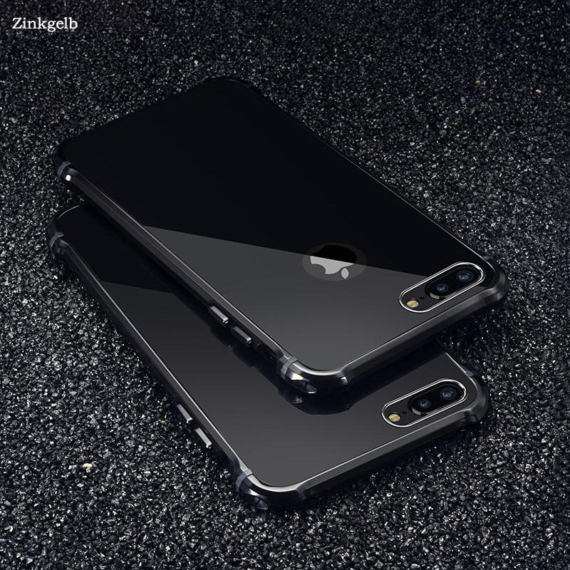 imágenes para Para apple iphone 7 case marca de lujo glitter metal de aluminio duro protectora del teléfono case para iphone 6 6s 7 plus case cubierta Fundas