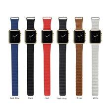 100% натуральная ссылка браслет для Apple , часы кожи контура 38 мм регулируемая магнитным замком для Apple , часы кожаный ремешок 42 мм