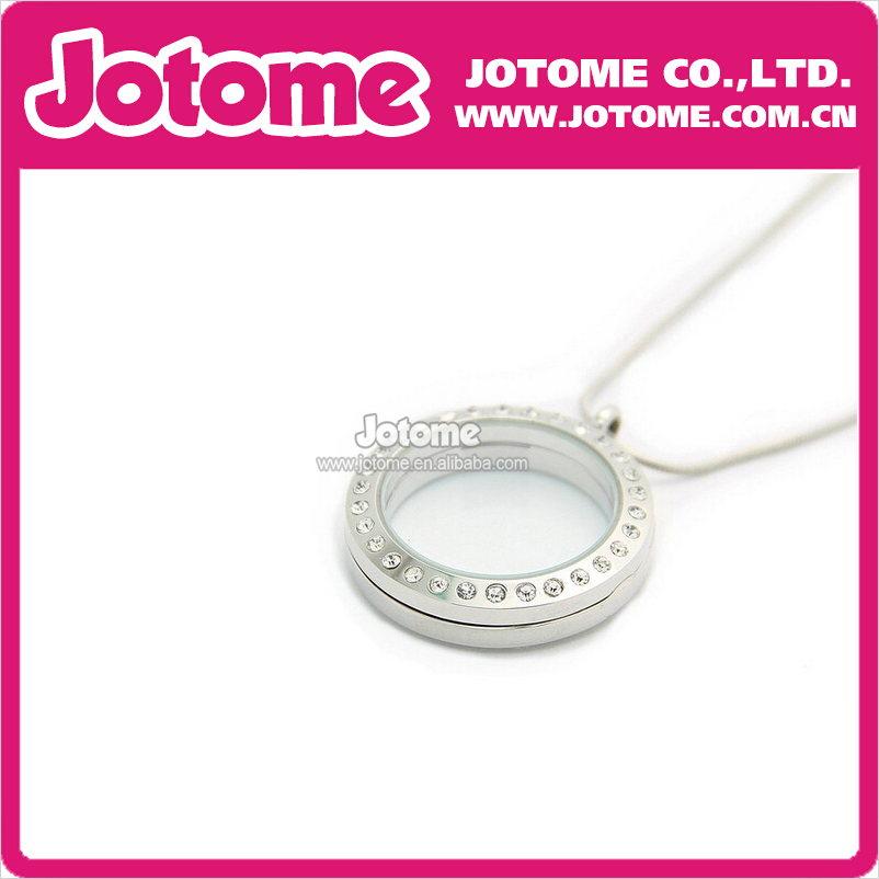 Simple Round Cute Silver Charm Floating Locket for Bracelet Necklace Girls and Ladies