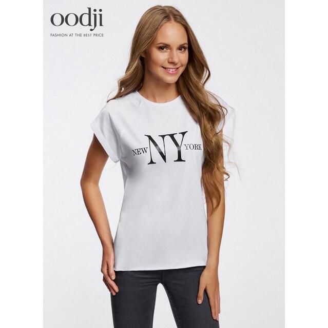oodji 2017 Женская футболка из хлопка с надписью, бесплатная доставка из России, 14707001-6/46154