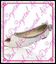 Aidocrystal mode dame elegante weiße kristall und perlen bowknot flache schuhe