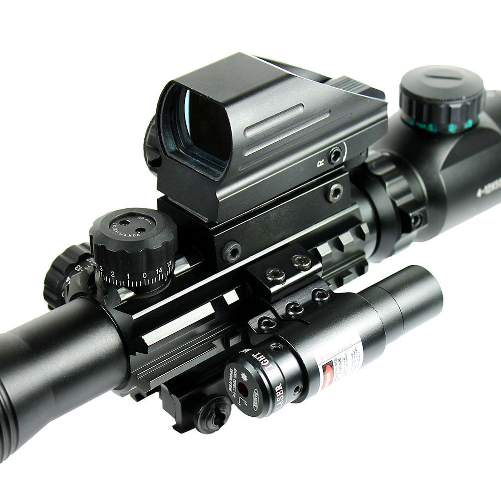 Hunting C4-12X50EG Tactical Rifle Scope With Holographic Dot Sight & Red Laser Combo Rifle Scope 3 10x42 red laser m9b tactical rifle scope red green mil dot reticle with side mounted red laser guaranteed 100%