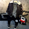 2017 Warm kids clothes sets winter boys clothing sets thick plus velvet 3pcs suits leather jacket+plaid shirt+jeans boys clothes