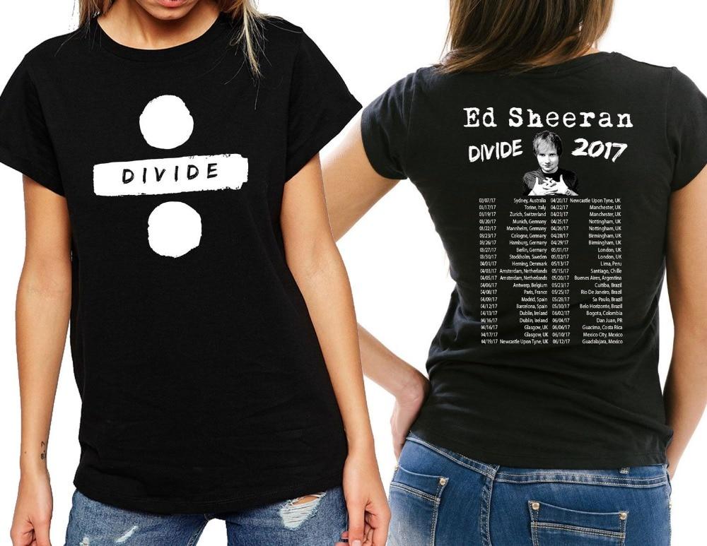 Ed Sheeran Tour 2017 T-Shirt Mujeres Camiseta-Divide y damas Blanco Negro Camise