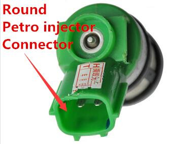 Round petrol injector connector