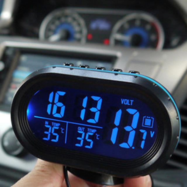 4 En 1 Car-Styling montado en un Vehículo Monitor Voltímetro LED Digital Termómetro Auto Detección + Auto + Noctilucos reloj Envío Gratis