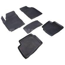 Резиновые коврики для Kia Ceed II (2007-2012) с высокими бортиками (Seintex 01068)