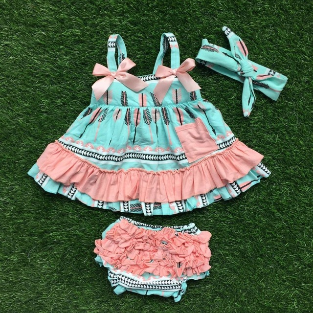 girls baby clothes children ruffled swing top bloomer sets infant toddler girls outffits Arrow swing top with headband