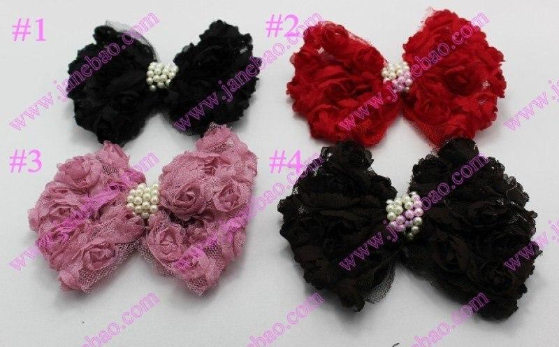 Новые 160 шт/партия цвета в ассортименте кружева и маленькие розочки бисером бант цветы для волос повязка для волос