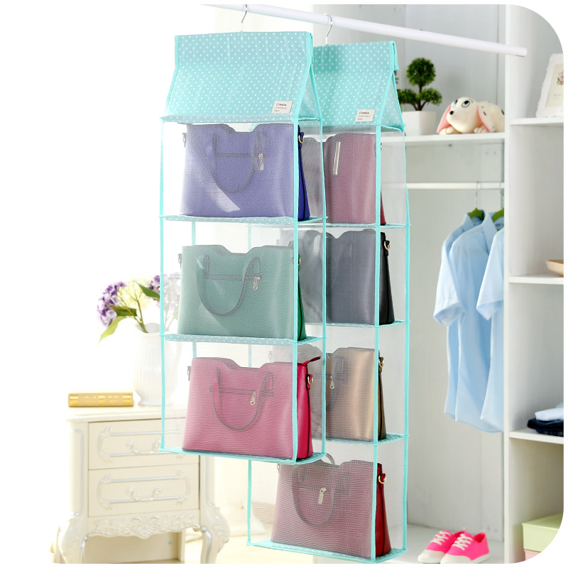 3/4Layers Storage Bag For Clothes Toys Bags Mesh Dot Design Wardrobe  Organizer Space Saver