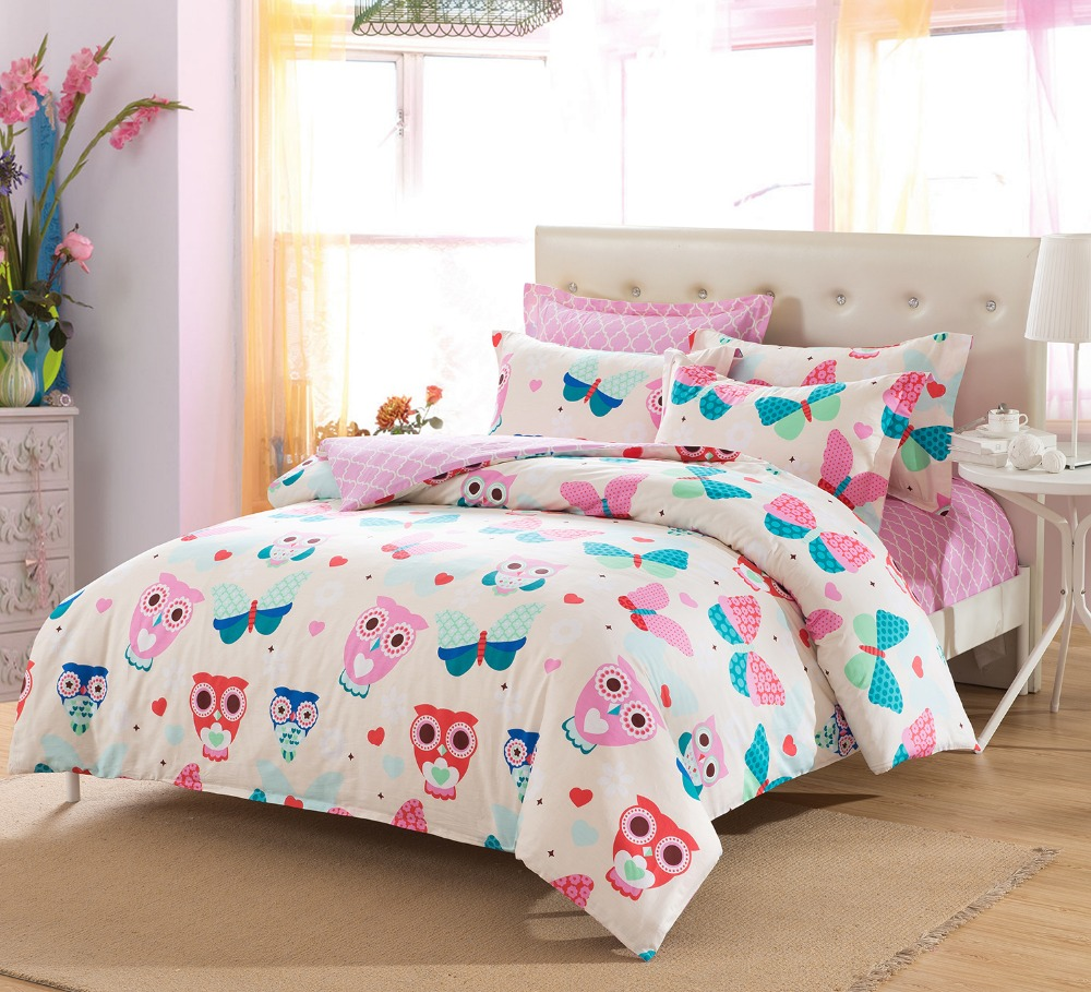 pink owl butterfly girls cute lovely cartoon bedding set bed sheets children kids twin full. Black Bedroom Furniture Sets. Home Design Ideas