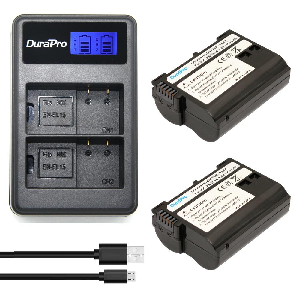 цена на 2Pcs EN-EL15 bateria AKKU ENEL15 EL15 camera battery batterie + LCD USB Dual Charger for Nikon D600 D800 D800E D7000 D7100 V1