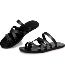 2016 summer new men's leather sandals and slippers