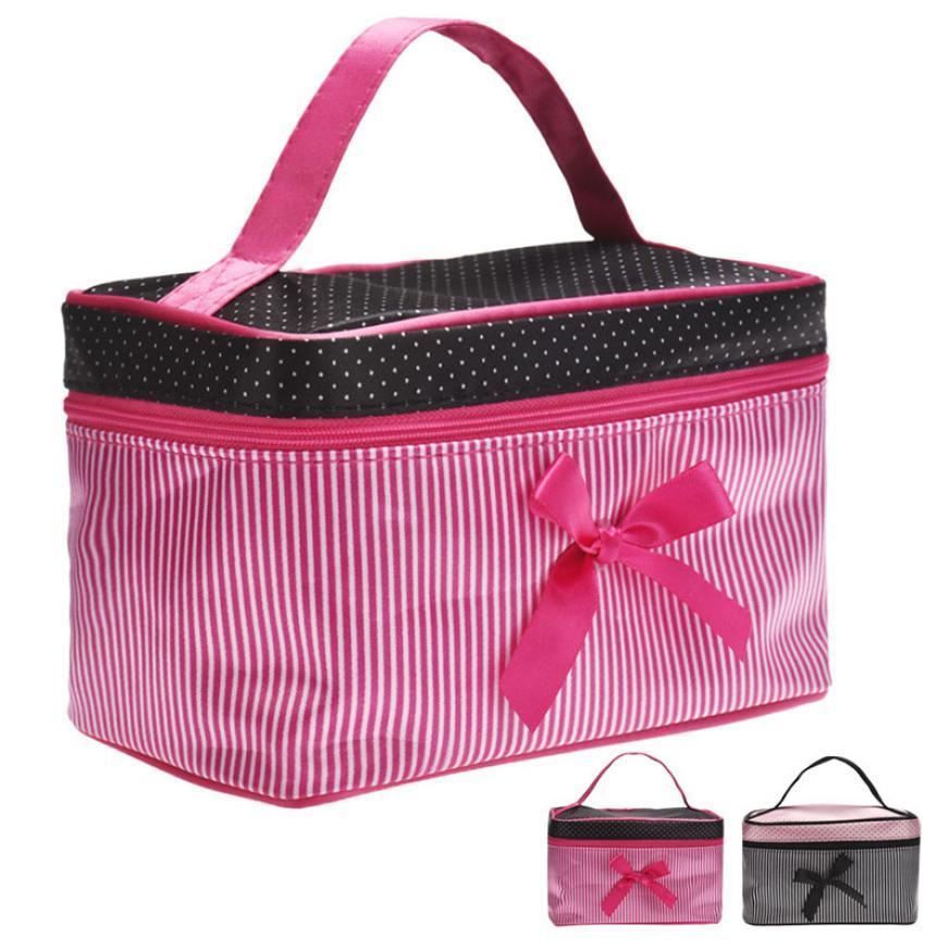 2017 New Bowknot Stripe Zipper Cosmetic Bag Man Women