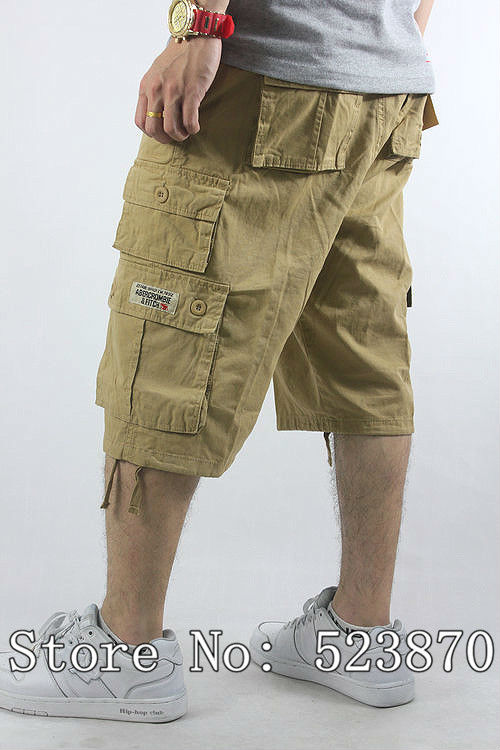 Plus Mens Cargo Capri Short Cotton Multi Pocket Zipper Khaki/Black ...