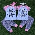 """Meninas do bebê verão roupas """" melhor amigo """" roupas de bebê little sister e irmã mais velha roupas de manga curta com headband"""