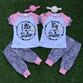 "baby girls summer outfits ""best friend"" clothes baby little sister and big sister clothes short sleeve  with headband"