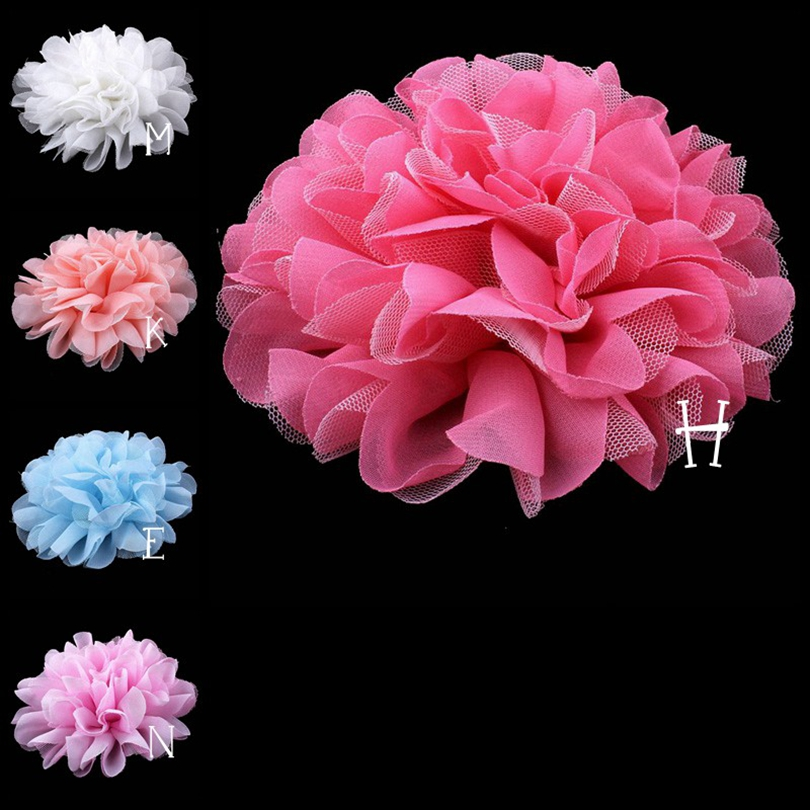 120pcs lot 5 5 Colors Hair Clips Satin Flat Back Flower For Headwear Large Mesh tulle