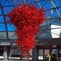 Groothandel Rode Kristal Led Glas Grote Kroonluchter voor Hotel Lobby Decoratie