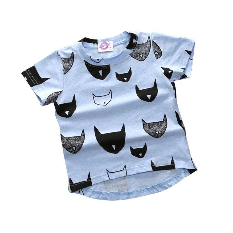 2017 Newest Summer Kids T-shirt 100% Cotton Cat Print Short Sleeves Boys Girls Baby T-shirt