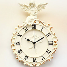 021026  European angel wall clock retro personality rural art clocks and watches  free shipping