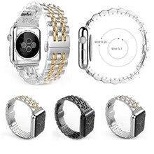 Новый продажи семь ссылки прочной нержавеющей стали часы с классической пряжкой для Apple , часы 38 мм 42 мм