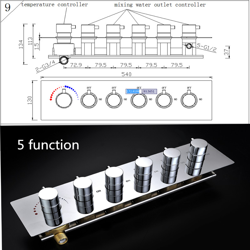 Shower accessories 5 ways Chrome Brass Shower Valve Panel With Diverter Bathroom Faucet Tap shower controller mini brass ball valve panel mountable 450psi with lever handle chrome plated malexfemale npt