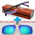 Un Clip polarizado y óptica por encargo de la prescripción óptica miopía clásica negocios de aleación de titanio gafas de lectura - 1 A - 8