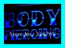I344 Body Piercing Tattoo Shop NUEVA NR Luz de Neón del LED Sign On/Off 7 Colores