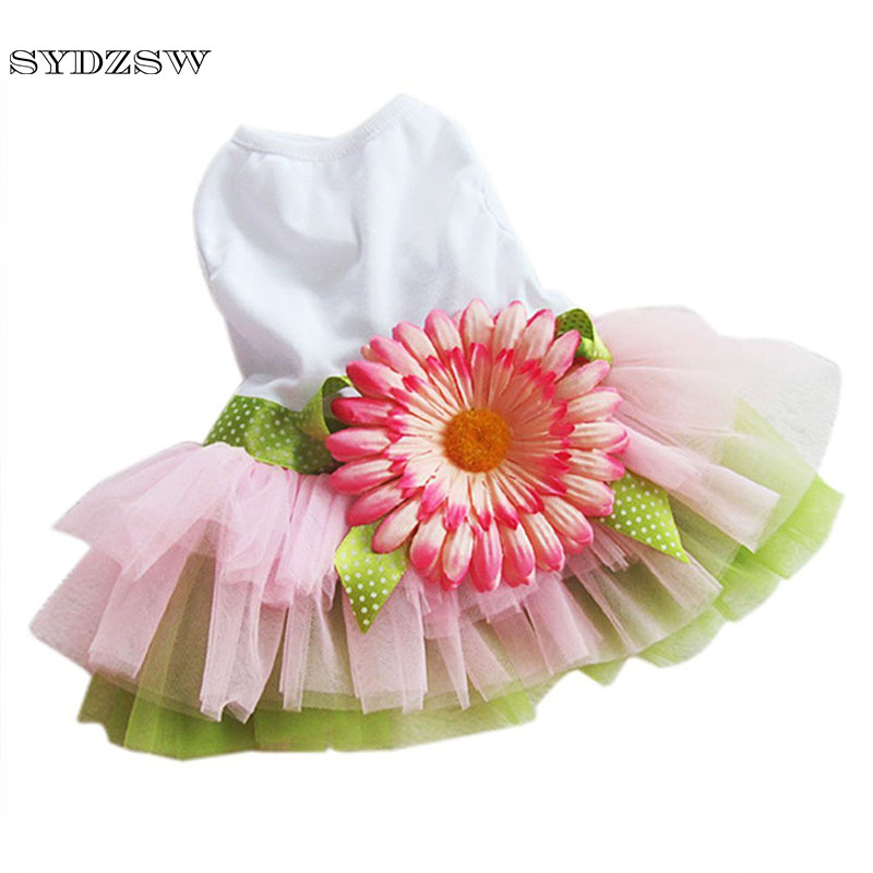 SYDZSW Cheap <font><b>Dog</b></font> Clothes Pet <font><b>Dog</b></font> Chihuahua Sunflower <font><b>Dress</b></font> Summer Puppy Costume for Yorkie <font><b>Dogs</b></font> S M L XL <font><b>XXL</b></font> Cute Cat <font><b>Dresses</b></font> image