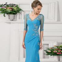 Elegant Long High Neck Mermaid Mother Of The Bride Dresses With Sleeves Plus Size New Fashion