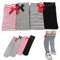 38g Crianças Meninas Do Bebê Colorido Bowknot Listras Em tubo 1-8A Alta Collants Para Bebê Menina