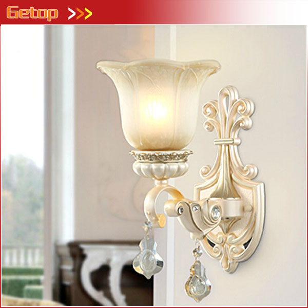 ФОТО ZX European Style Resin Glass E27 LED Wall Lamp AC 220V 11W-15W Large Lighting Range Bed Living Room Light LED Included