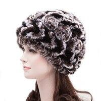 Nieuwe Collectie Real Rex Konijnenbont Knit Arrow patroon Rose Bloemen Vrouwen Hoed Winter Caps