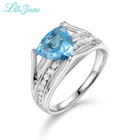 L Zuan 925 Sterling Silver Natural 2 075ct Topaz Blue Stone Prong Setting Ring Jewelry For