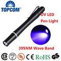 [Nave libre] 3 w mini pocket 2aaa pilas 395nm 1 led ultravioleta uv aleación de aluminio pluma de luz