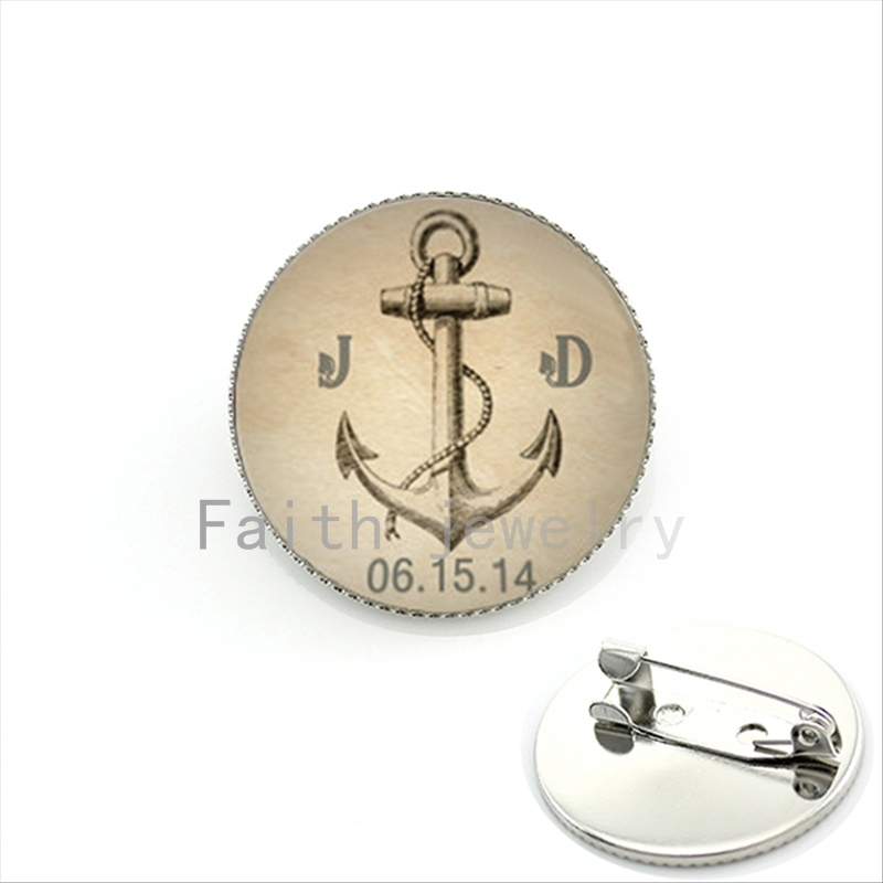 boat anchor brooch custom 2 letters initial date brooch men gifts silver plated