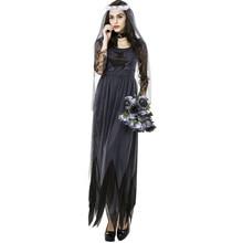 Womens Black Gothic Bride Vampire Halloween Cosplay Costume Dress  medieval knight cosplay ghost bride black lace dress  CS2436