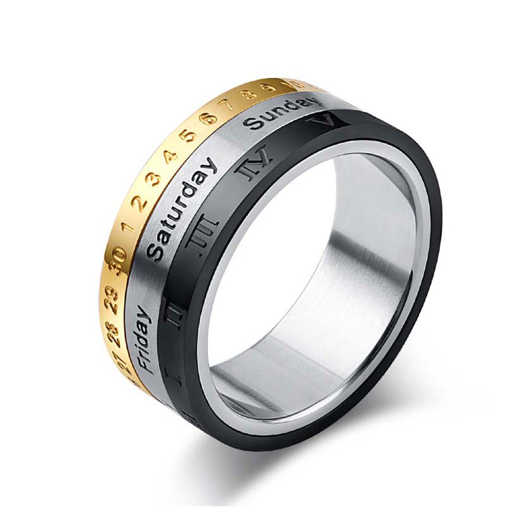 Titanium Steel Rotatable Ring Arabic Letter Men's Silver Gold Black Rings  For Women Summer Engagement Jewelry