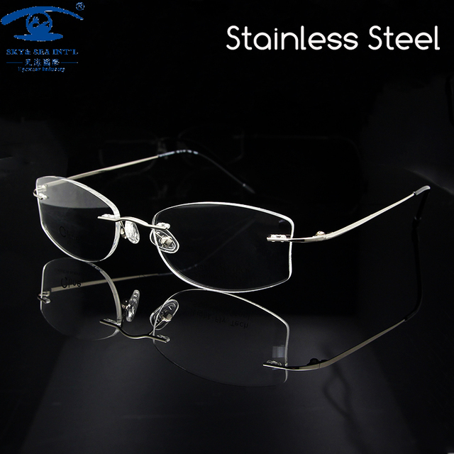 25a98ae1eaf New Design Womens Eyeglasses Frame Silver Rimless Glasses for Women  Prescription Eyewear Spectacles Rx