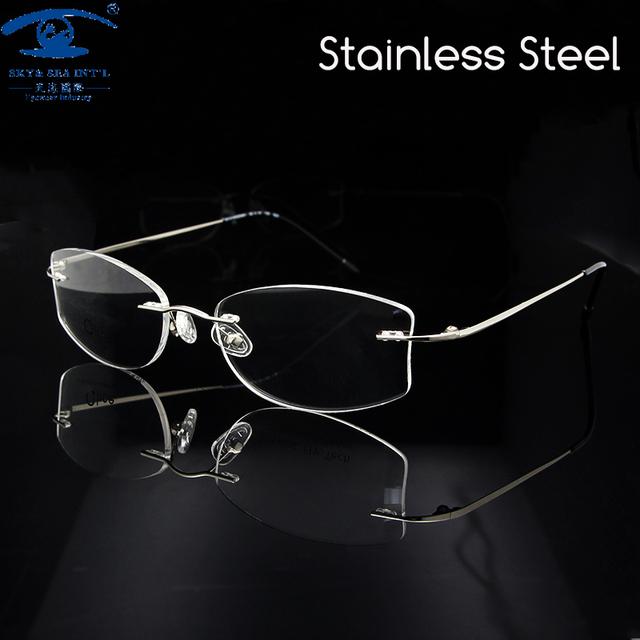 Novo Design Das Mulheres Óculos de Armação Óculos Sem Aro de Prata para As Mulheres Óculos de Prescrição Óculos Rx